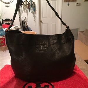 Tory Burch Black Leather Stacked T Large Hobo Bag